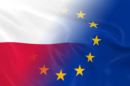 fading: Polish and European Relations Concept Image - Flags of Poland and the European Union Fading Together