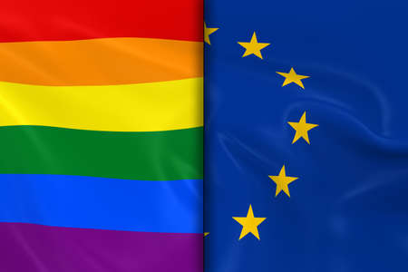 opposed: Flags of Gay Pride and the EU Split Down the Middle - 3D Render of the Gay Pride Rainbow Flag and the European Union Flag with Silky Texture