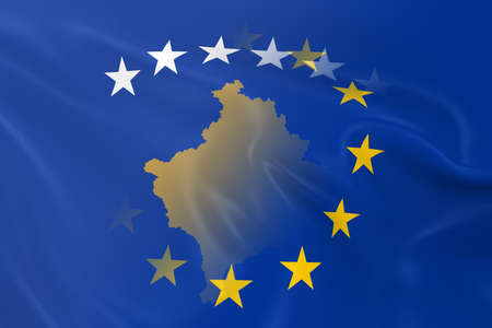 merged: Kosovan and European Relations Concept Image - Flags of Kosovo and the European Union Fading Together Stock Photo