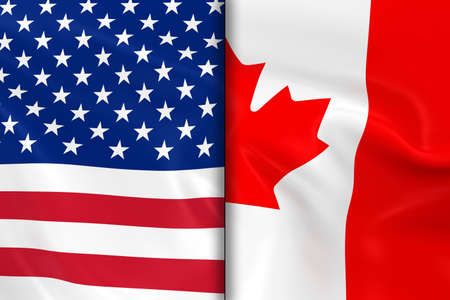 opposed: Flags of the USA and Canada Split Down the Middle - 3D Render of the American Flag and Canadian Flag with Silky Texture Stock Photo