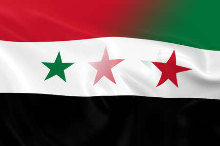 opposed: Syrian Crisis Concept Image - Flags of the Syrian Government and Syrian Opposition Fading Together