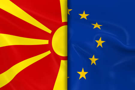 macedonian flag: Flags of Macedonia and the European Union Split Down the Middle - 3D Render of the Macedonian Flag and EU Flag with Silky Texture
