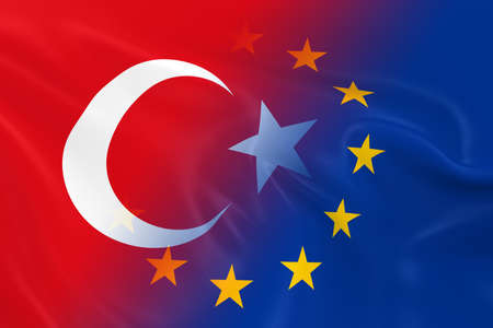 fading: Turkish and European Relations Concept Image - Flags of Turkey and the European Union Fading Together