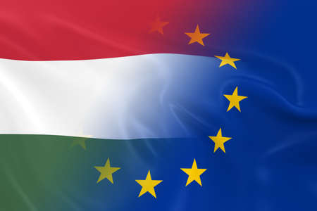 fading: Hungarian and European Relations Concept Image - Flags of Hungary and the European Union Fading Together