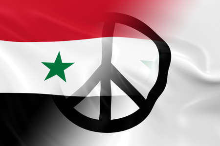 syria peace: Peace in Syria Concept - Syrian Government Flag overlaid on White Peace Flag