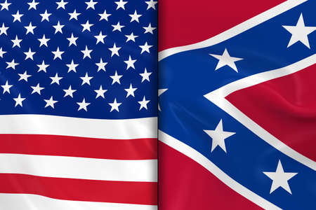 spangled: Flags of the USA and the Confederacy Split Down the Middle - 3D Render of the American Flag and Confederate Flag with Silky Texture Stock Photo