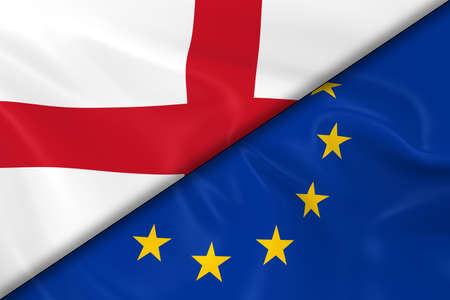 drapeau anglais: Flags of England and the European Union Divided Diagonally - 3D Render of the English Flag and EU Flag with Silky Texture Banque d'images