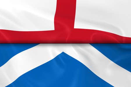 bandiera inglese: Bandiere di Inghilterra e Scozia diviso a met� - 3d rendering della bandiera inglese e bandiera scozzese con texture setosa