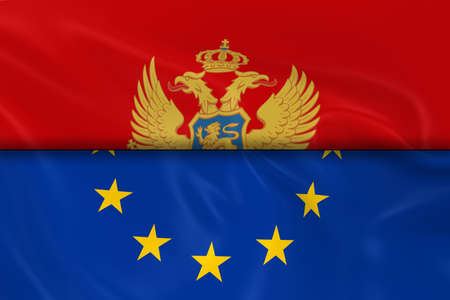 eu flag: Flags of Montenegro and the European Union Split in Half - 3D Render of the Montenegrin Flag and EU Flag with Silky Texture