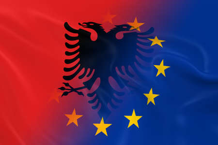fading: Albanian and European Relations Concept Image - Flags of Albania and the European Union Fading Together