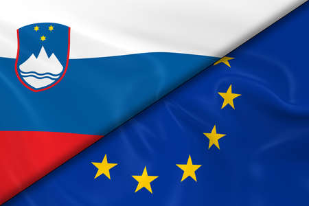 divided: Flags of Slovenia and the European Union Divided Diagonally - 3D Render of the Slovenian Flag and EU Flag with Silky Texture Stock Photo