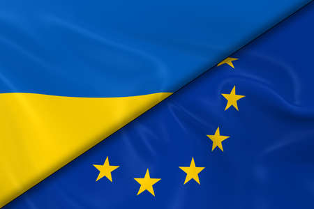 divided: Flags of Ukraine and the European Union Divided Diagonally - 3D Render of the Ukrainian Flag and EU Flag with Silky Texture