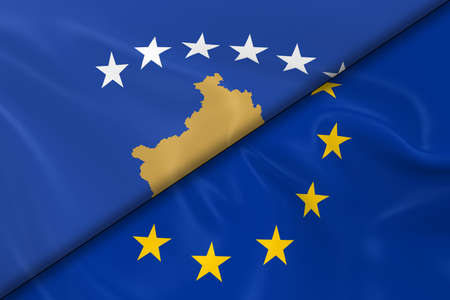 diagonally: Flags of Kosovo and the European Union Divided Diagonally - 3D Render of the Kosovan Flag and EU Flag with Silky Texture