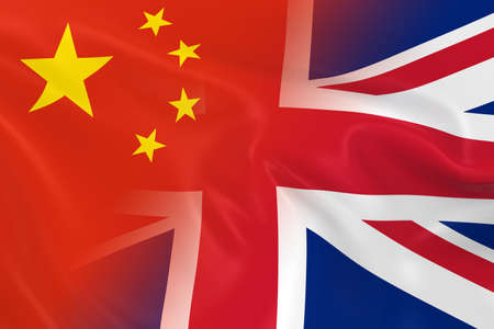 merged: Chinese and British Relations Concept Image - Flags of China and the United Kingdom Fading Together