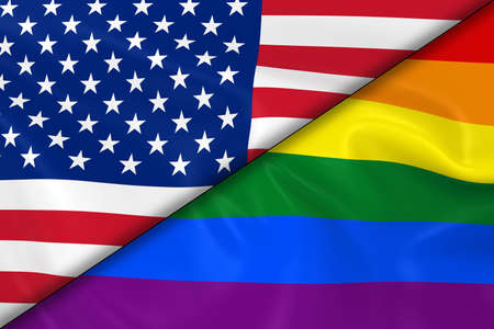 opposed: Flags of Gay Pride and the US Divided Diagonally - 3D Render of the Gay Pride Rainbow Flag and the United States of America Flag with Silky Texture