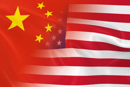 merged: Chinese and American Relations Concept Image - Flags of China and the United States Fading Together Stock Photo