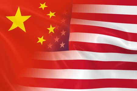 banderas america: Chinos y Concept Relaciones Americano imagen - Banderas de China y los Estados Unidos Fading Juntos Foto de archivo