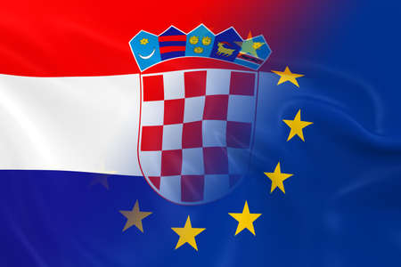 fading: Croatian and European Relations Concept Image - Flags of Croatia and the European Union Fading Together