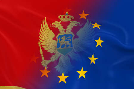 fading: Montenegrin and European Relations Concept Image - Flags of Montenegro and the European Union Fading Together