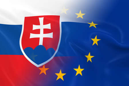 fading: Slovakian and European Relations Concept Image - Flags of Slovakia and the European Union Fading Together Stock Photo
