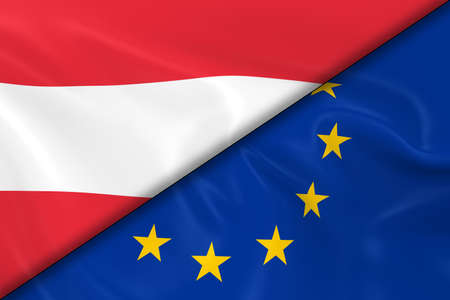 diagonally: Flags of Austria and the European Union Divided Diagonally - 3D Render of the Austrian Flag and EU Flag with Silky Texture