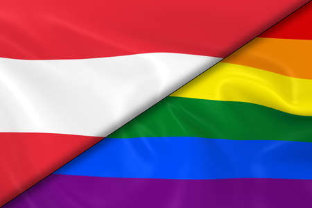 divided: Flags of Gay Pride and Austria Divided Diagonally - 3D Render of the Gay Pride Rainbow Flag and the Austrian Flag with Silky Texture Stock Photo