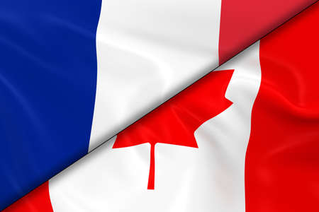 Flags of France and Canada Divided Diagonally - 3D Render of the French Flag and Canadian Flag with Silky Texture