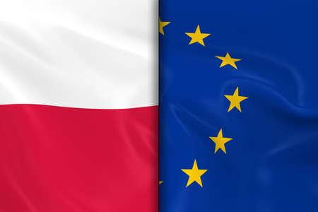 bandera de polonia: Banderas de Polonia y la Unión Europea dividida por la mitad - 3d de la bandera de la bandera de la UE y de Polonia con textura sedosa Foto de archivo