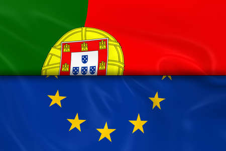 opposed: Flags of Portugal and the European Union Split in Half - 3D Render of the Portuguese Flag and EU Flag with Silky Texture