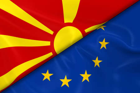 macedonian flag: Flags of Macedonia and the European Union Divided Diagonally - 3D Render of the Macedonian Flag and EU Flag with Silky Texture Stock Photo
