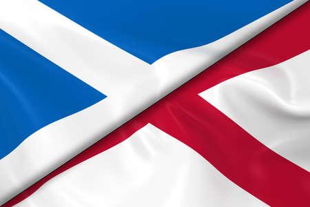 scottish flag: Bandiere della Scozia e Irlanda del Nord divisa in diagonale - rendering 3D della bandiera scozzese e del Nord bandiera irlandese con texture setosa Archivio Fotografico