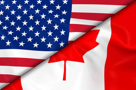 diagonally: Flags of the USA and Canada Divided Diagonally - 3D Render of the American Flag and Canadian Flag with Silky Texture