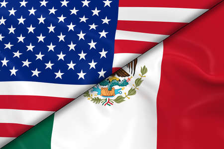 diagonally: Flags of the United States of America and Mexico Divided Diagonally - 3D Render of the American Flag and Mexican Flag with Silky Texture Stock Photo