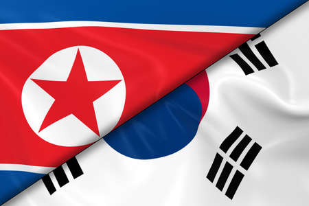 korean flag: Flags of North Korea and South Korea Divided Diagonally - 3D Render of the North Korean Flag and South Korean Flag with Silky Texture