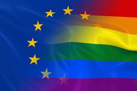 opposed: Gay Pride in Europe Concept Image - Gay Pride Rainbow Flag and the European Union Flag Fading Together Stock Photo