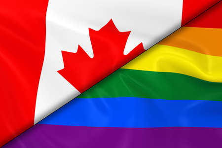 diagonally: Flags of Gay Pride and Canada Divided Diagonally - 3D Render of the Gay Pride Rainbow Flag and the Canadian Flag with Silky Texture