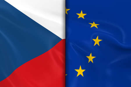 eu flag: Flags of the Czech Republic and the European Union Split Down the Middle - 3D Render of the Czech Flag and EU Flag with Silky Texture
