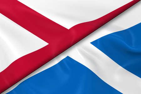 scottish flag: Bandiere di Irlanda del Nord e Scozia divisa in diagonale - rendering 3D della bandiera nordirlandese e bandiera scozzese con texture setosa
