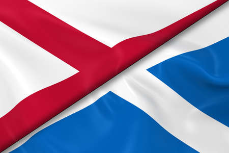 diagonally: Flags of Northern Ireland and Scotland Divided Diagonally - 3D Render of the Northern Irish Flag and Scottish Flag with Silky Texture
