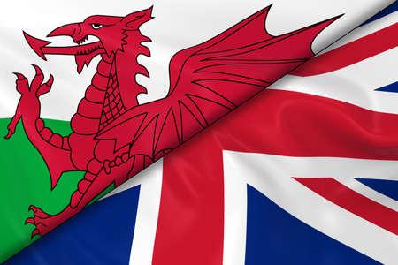 welsh flag: Bandiere del Galles e del Regno Unito divisa in diagonale - 3D rendering di Welsh Flag e Regno Unito bandiera con texture setosa Archivio Fotografico