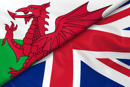 welsh flag: Flags of Wales and the UK Divided Diagonally - 3D Render of the Welsh Flag and United Kingdom Flag with Silky Texture
