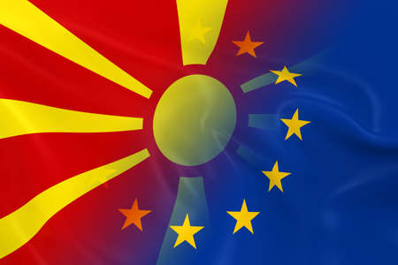 macedonian: Macedonian and European Relations Concept Image - Flags of Macedonia and the European Union Fading Together