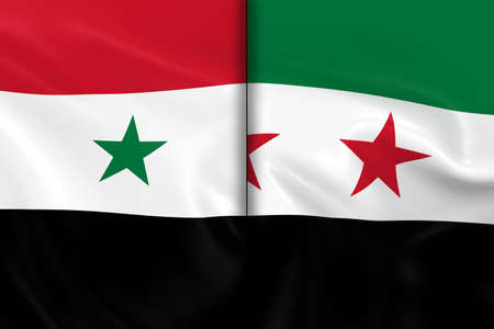 opposed: Syrian Crisis Concept Image - Flags of the Syrian Government and the Syrian Opposition Split Down the Middle Stock Photo