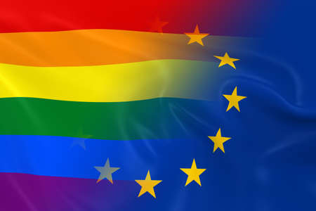 gay pride: Gay Pride in Europe Concept Image - Gay Pride Rainbow Flag and the European Union Flag Fading Together Stock Photo