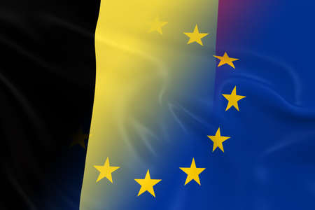 opposed: Belgian and European Relations Concept Image - Flags of Belgium and the European Union Fading Together Stock Photo