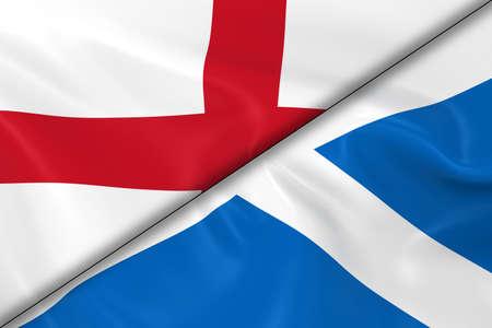 scottish flag: Bandiere di Inghilterra e Scozia divisa in diagonale - Render 3D della bandiera inglese e bandiera scozzese con texture setosa Archivio Fotografico