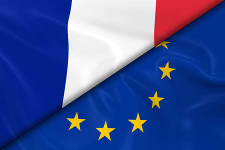 diagonally: Flags of France and the European Union Divided Diagonally - 3D Render of the French Flag and EU Flag with Silky Texture Stock Photo