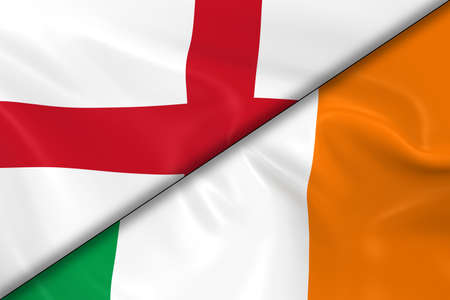 irish flag: Flags of England and Ireland Divided Diagonally - 3D Render of the English Flag and Irish Flag with Silky Texture Stock Photo