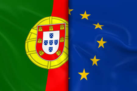 eu flag: Flags of Portugal and the European Union Split Down the Middle - 3D Render of the Portuguese Flag and EU Flag with Silky Texture