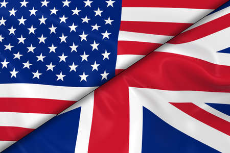 divided: Flags of the USA and the UK Divided Diagonally - 3D Render of the American Flag and British Flag with Silky Texture Stock Photo
